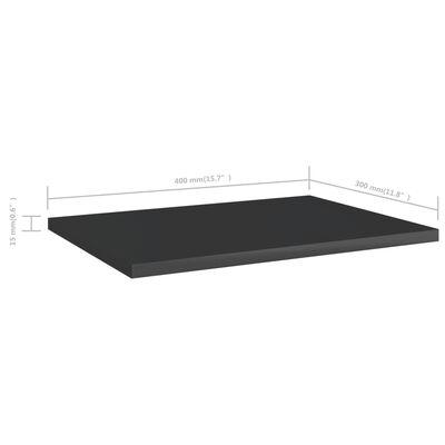 "vidaXL Bookshelf Boards 4 pcs High Gloss Black 15.7""x11.8""x0.6"" Chipboard"