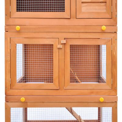 Outdoor Rabbit Hutch Small Animal House Pet Cage 3 Layers Wood