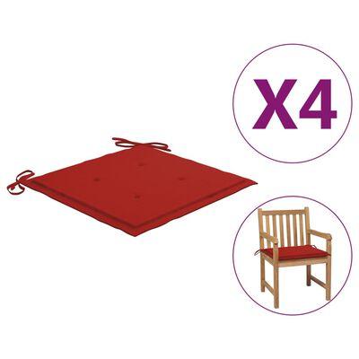 "vidaXL Garden Chair Cushions 4 pcs Red 19.7""x19.7""x1.6"" Fabric"