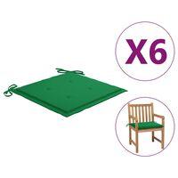 "vidaXL Garden Chair Cushions 6 pcs Green 19.7""x19.7""x1.6"" Fabric"