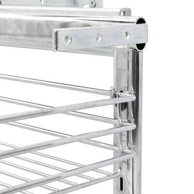 "vidaXL 3-Tier Pull-out Kitchen Wire Basket Silver 18.5""x9.8""x22"""