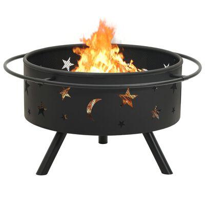 """vidaXL Fire Pit with Poker 29.9XXL Steel"""""""