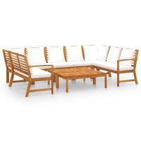 vidaXL 9 Piece Garden Lounge Set with Cushion Cream Solid Acacia Wood
