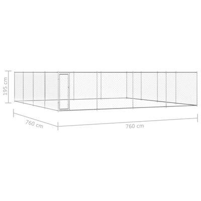 """vidaXL Outdoor Dog Kennel Galvanised Steel 299.2""""x299.2""""x76.8"""""""