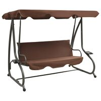 vidaXL Outdoor Swing Bench with Canopy Coffee