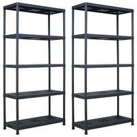 "vidaXL Storage Shelf Racks 2 pcs Black 573.2 lb 35.4""x15.7""x70.9"" Plastic"