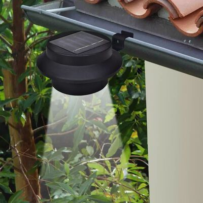 vidaXL Outdoor Solar Lamp Set 6 pcs Fence Light Gutter Light Black