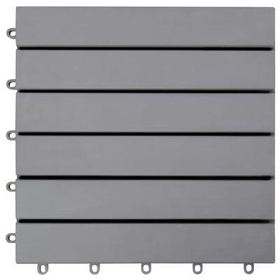"vidaXL Decking Tiles 10 pcs Gray Wash 11.8""x11.8"" Solid Acacia Wood"