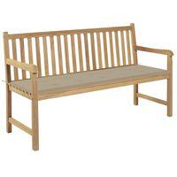 "vidaXL Garden Bench with Beige Cushion 59.1"" Solid Teak Wood"