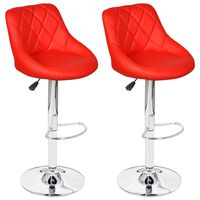 vidaXL Bar Stools 2 pcs Red Faux Leather