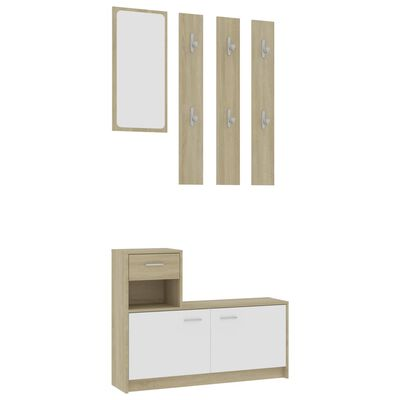 "vidaXL Hallway Unit White and Sonoma Oak 39.4""x9.8""x30.1"" Chipboard"