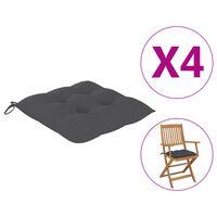 "vidaXL Chair Cushions 4 pcs Anthracite 15.7x15.7""x2.8"" Fabric"""