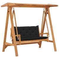 "vidaXL Swing Bench with Black Cushion 66.9"" Solid Teak Wood"