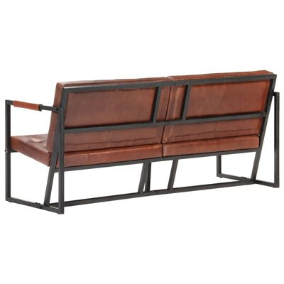 vidaXL 3-Seater Sofa Brown Real Goat Leather