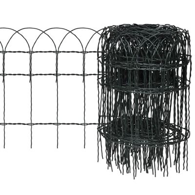 vidaXL Garden Border Fence Powder-coated Iron 32.8'x1.3'