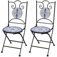 vidaXL Folding Bistro Chairs 2 pcs Ceramic Blue and White