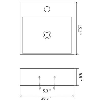 "vidaXL Basin with Faucet Hole Ceramic White 20.3""x15.2""x5.9"""