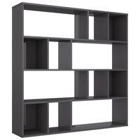 "vidaXL Room Divider/Book Cabinet High Gloss Gray 43.3""x9.4""x43.3"" Chipboard"