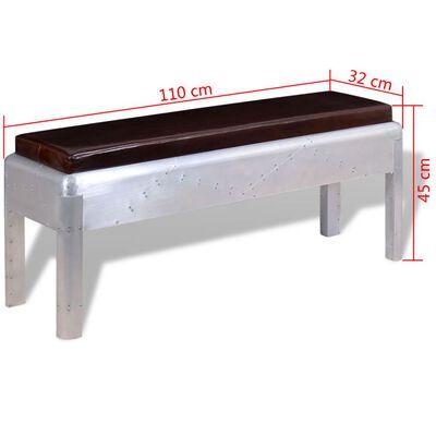 """vidaXL Aviator Bench Genuine Leather 43.3""""x12.6""""x17.7"""""""