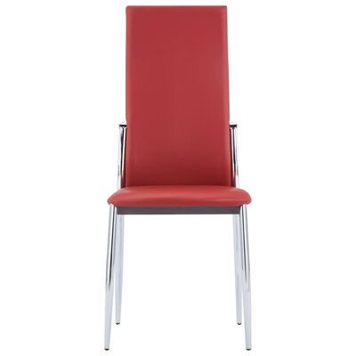 vidaXL Dining Chairs 4 pcs Red Faux Leather