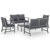 vidaXL 5 Piece Garden Lounge Set with Cushion Solid Acacia Wood Gray