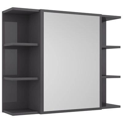 "vidaXL Bathroom Mirror Cabinet High Gloss Gray 31.5""x8.1""x25.2"" Chipboard"