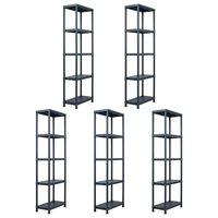 "vidaXL Storage Shelf Racks 5 pcs Black 155.1 lb 23.6""x11.8""x70.9"" Plastic"
