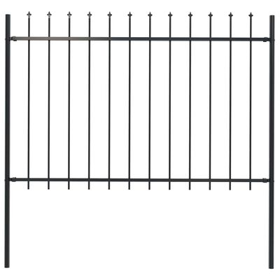 "vidaXL Garden Fence with Spear Top Steel 66.9""x47.2"" Black"