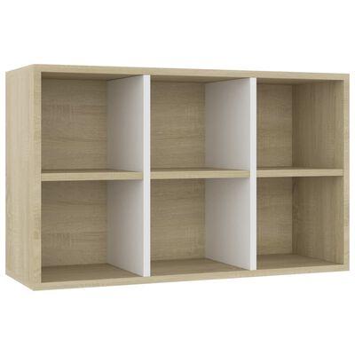 "vidaXL Book Cabinet/Sideboard White and Sonoma Oak 26""x11.8""x38.5"" Chipboard"