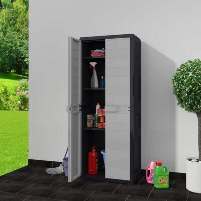 vidaXL Garden Storage Cabinet with 3 Shelves Black and Gray
