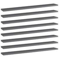 "vidaXL Bookshelf Boards 8 pcs High Gloss Gray 31.5""x3.9""x0.6"" Chipboard"