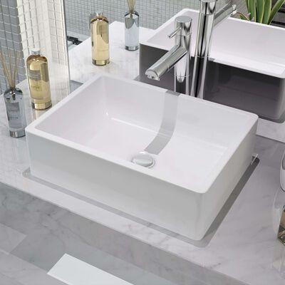"vidaXL Basin Ceramic White 16.1""x11.8""x4.7"""