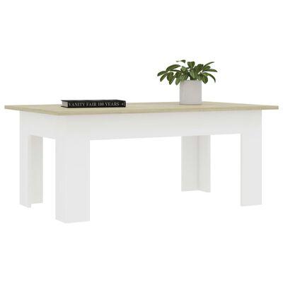 "vidaXL Coffee Table White and Sonoma Oak 39.4""x23.6""x16.5"" Chipboard"