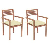 vidaXL Garden Chairs 2 pcs with Cream White Cushions Solid Teak Wood
