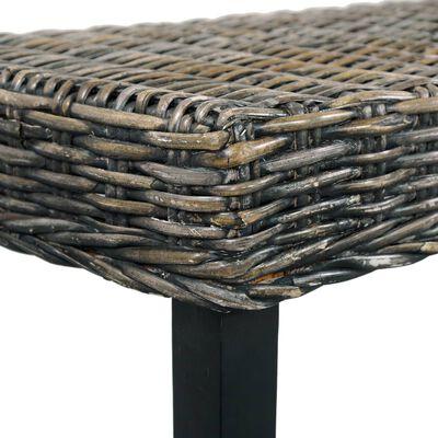 "vidaXL Bench 63"" Black Natural Kubu Rattan and Solid Mango Wood"
