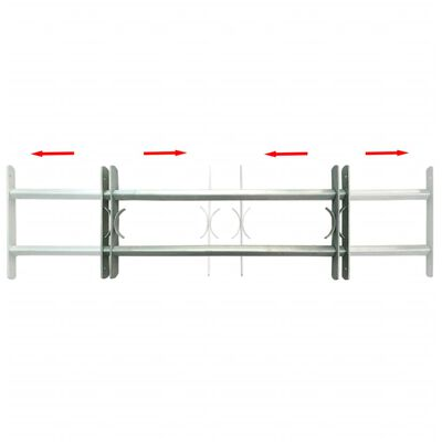"""Adjustable Security Grille for Windows with 2 Crossbars 27.6""""-41.3"""""""