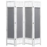 vidaXL 4-Panel Room Divider Gray 4.6'x5.4' Fabric