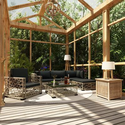 vidaXL 6 Piece Garden Lounge Set with Cushions Poly Rattan Gray