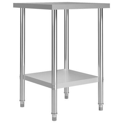 """vidaXL Kitchen Work Table 23.6""""x23.6""""x33.5"""" Stainless Steel"""