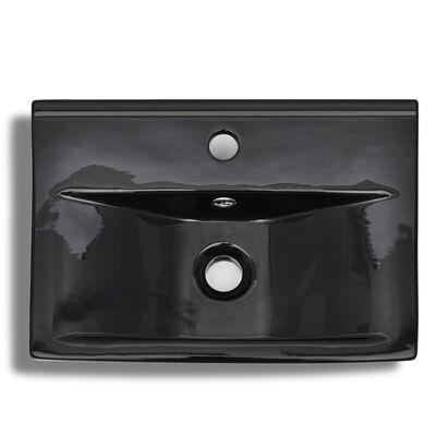 vidaXL Ceramic Bathroom Sink Basin Faucet/Overflow Hole Black Rectangular