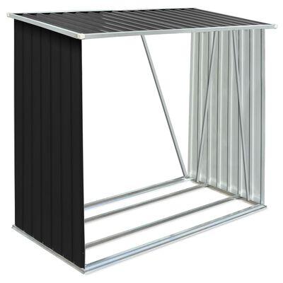 """vidaXL Garden Log Storage Shed Galvanized Steel 64.2""""x32.7""""x60.6"""" Anthracite"""