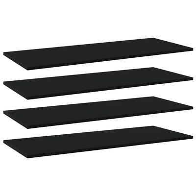 """vidaXL Bookshelf Boards 4 pcs Black 39.4""""x15.7""""x0.6"""" Chipboard"""