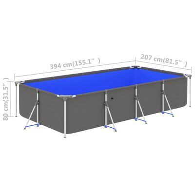 """vidaXL Swimming Pool with Steel Frame 155.1""""x81.5""""x31.5"""" Anthracite"""