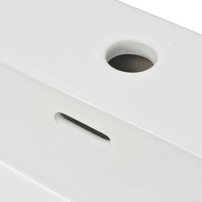 "vidaXL Basin with Faucet Hole Ceramic White 23.8""x16.7""x5.7"""