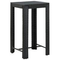 """vidaXL Garden Bar Table Black 23.8""""x23.8""""x43.5"""" Poly Rattan"""