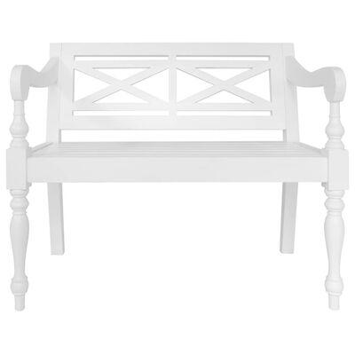 "vidaXL Batavia Bench 38.6"" Solid Mahogany Wood White"