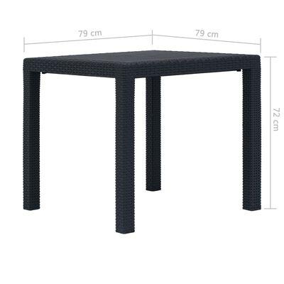 """vidaXL Garden Table Anthracite 31.1""""x31.1""""x28.3"""" Plastic Rattan Look"""