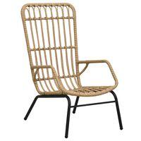 vidaXL Garden Chair Poly Rattan Light Brown