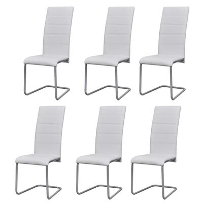 274589 vidaXL Cantilever Dining Chairs 6 pcs White Faux Leather