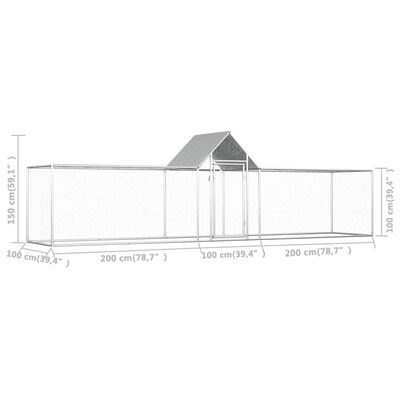vidaXL Chicken Coop 16.4'x3.3'x4.9' Galvanized Steel